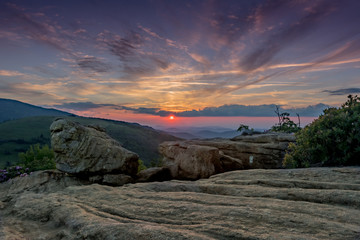 Low Angle of Jane Bald Rocks at Sun Set