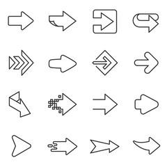 Arrows icons set. Arrow in linear design. Line with Editable stroke