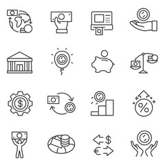 Economy icons set. cash operations, finance and currency exchange. Line with Editable stroke
