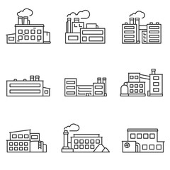 factory icons set thin line design. Line with editable stroke