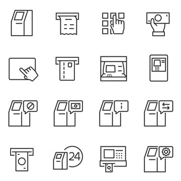 Atm terminal icon set. automated teller machine icons collection. payment and receipt of money. Line with Editable stroke