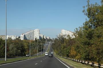 View of streets of Kishinev (Chisinau) Moldova. Buildings