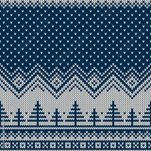 7193db44b8d8 Knitted Sweater Design with Christmas Trees in Winter Night Landscape.  Holiday Seamless Knit Pattern