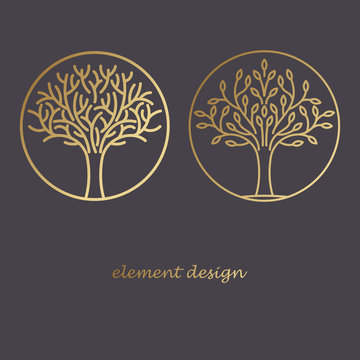 Set of icons of trees.