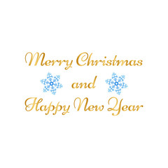 Merry Christmas, Happy New Year greeting card on white background.
