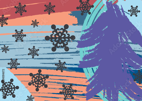 Christmas Graffiti Background.Creative Horizontal New Year Background Drawn By Hand With