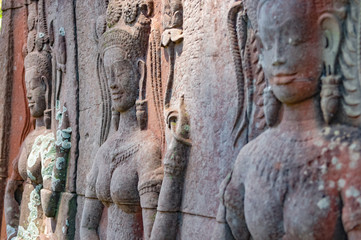 Details of the carved stones in a temple in Angkor Wat, Cambodia.