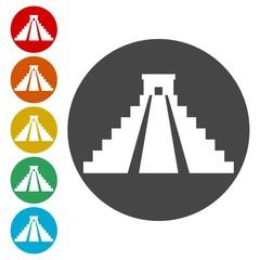 El Castillo pyramid in Chichen Itza flat icon