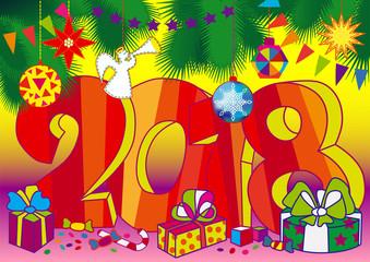 Happy New 2018 year card, bright and vivid