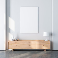 Vertical poster canvas mockup in modern interior with oak wooden bureau and decor. 3d rendering
