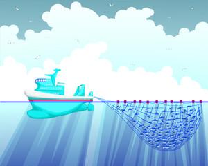 Illustration of a sea fishing trawler