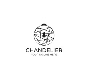 Chandelier Logo Template. Luminaire Vector Design. Lustre Illustration