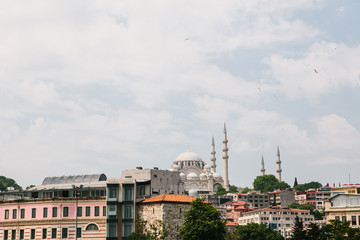 The world-famous Blue Mosque in Istanbul is also called Sultanahmet. Near various buildings. View from the Bosphorus. Turkey.
