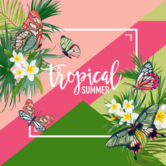 Tropical Flowers Summer Design with Exotic Butterflies. Watercolor Floral Background for Banner, Poster, T-shirt. Vector illustration