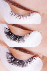 Eyelash Extension Procedure. Comparison of female eyes before and after.