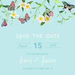 Wedding Invitation Template Tropical Design with Exotic Butterflies and Flowers. Save the Date Floral Card. Vector illustration