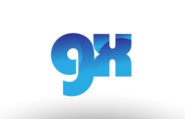 blue gradient gx g x alphabet letter logo combination icon design