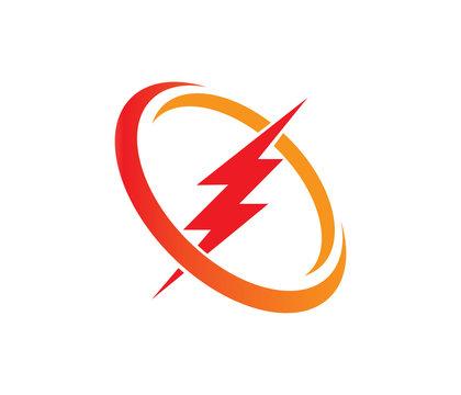 lightning thunderbolt electricity gear vector logo design