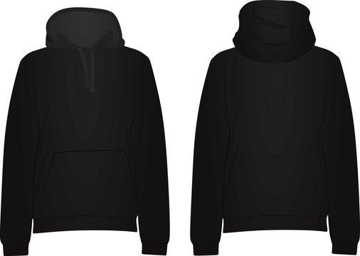 Black hoodie. vector illustration