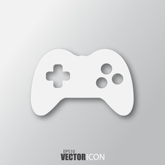 Joystick icon in white style with shadow isolated on grey background.