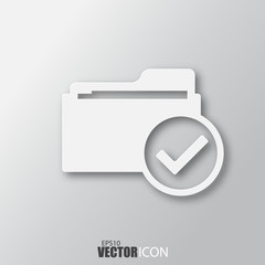 Select folder icon in white style with shadow isolated on grey background.