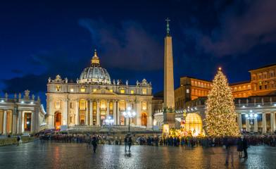 Deurstickers Rome Saint Peter Basilica in Rome at Christmas