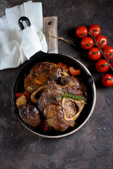 Ossobuko beef with onions, carrots, celery, white wine and thyme.