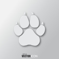 Paw icon in white style with shadow isolated on grey background.