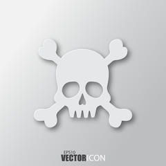 Skull icon in white style with shadow isolated on grey background.