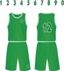Green basketball shirt and shorts. vector illustration