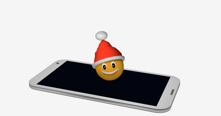 Emoticon with Santa hat on the display of a mobile phone.