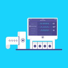 Electrocardiograph machine vector.  Flat  medical ekg device. Medical equipment.