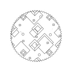 line circle with geometric style graphic background