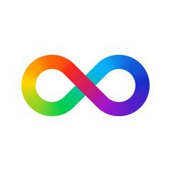 Infinity sign color spectrum. Rainbow gradient in the shape of the infinity sign. Eight sign colorful gradient.