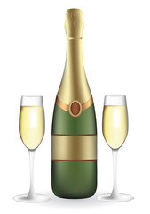 Champagne bottle with two full wineglasses, vector