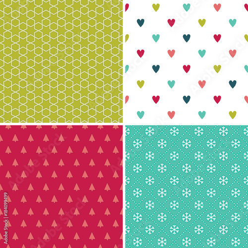 vector set of seamless geometric holiday backgrounds in red white and mint with hearts - Mint Christmas Cards
