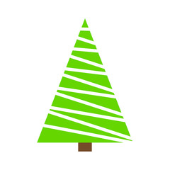 Christmas tree green simple outline design isolated on white background