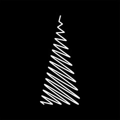 Christmas tree scribble design isolated on black background