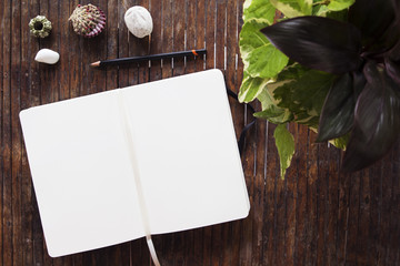 Notepad with blank page top view. Sketchbook spread and tropical decor items on rustic wooden table.