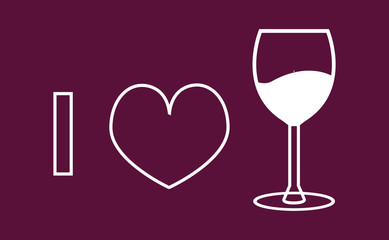 I love wine vector icon on the burgundy background