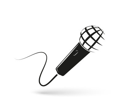 Stylized monochrome microphone on white background. Mic isolated logo. Vector illustration