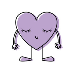 color heart kawaii with arms and legs to love symbol