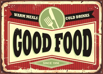 Wall Mural - Good food, warm meals and cold drinks retro sign design. Traditional sign design for restaurant or diner. Food and drinks theme.