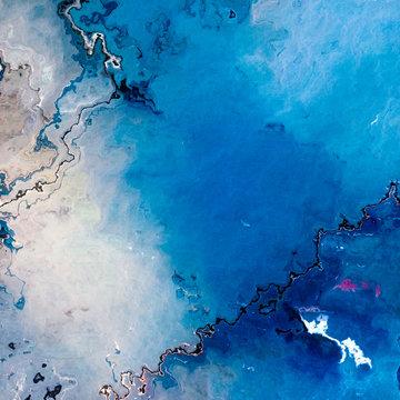 Blue cracked empty glacier like surface