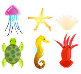 Marine elements. Animals. Icons seahorse, star, shell, turtle, squid, jellyfish. Vector illustration