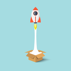 Rocket ship launch from the box flat design.Start up business concept think outside the box.Vector illustration.