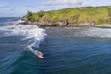 Aerial View - Surfing at Honolua Bay - Island of Maui - Hawaii