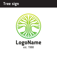 Logotype of a tree, a field of application education, family, medicine