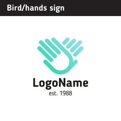Hand logo wings of a bird, for an educational or charitable organization