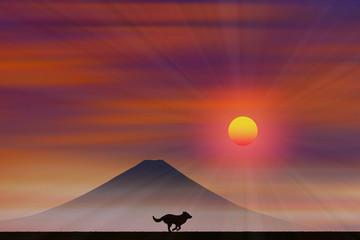 犬と富士山に朝日